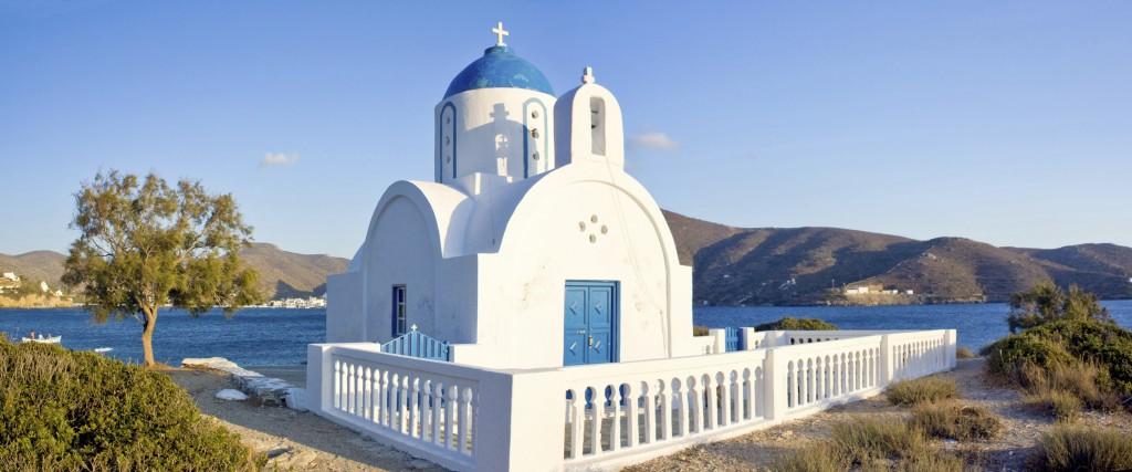 Catedral tradicional na Ilha de Amorgos, Grécia.