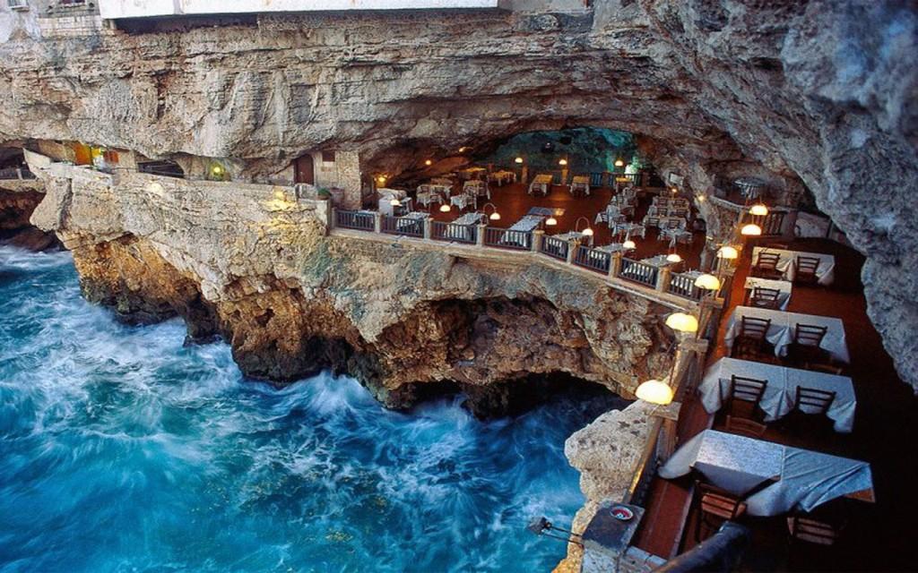 Restaurante Grotta Palazzese Polignano a Mare, Itália