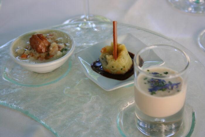 Sopa, purê de batata e Risotto do restaurante Clairefontaine