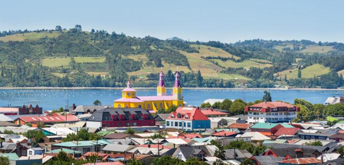 Panorama de Castro na Ilha de Chiloé