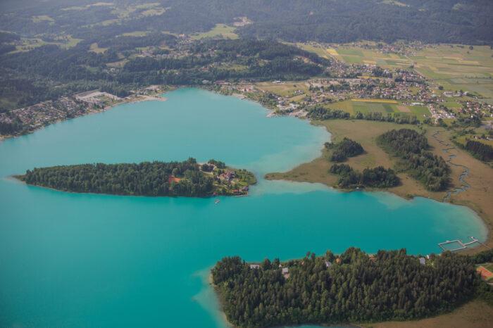 Passeio aéreo panorâmico Caríntia Lago Faak