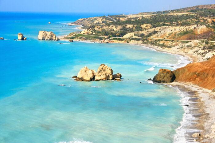 O célebre lugar do nascimento de Afrodite Paphos, Chipre
